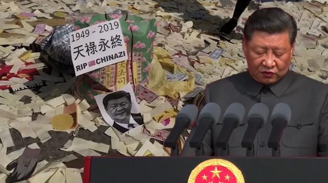 """Biểu tình ở Hồng Kông ngày 110 """"Không có quốc khánh, chỉ có quốc tang"""""""